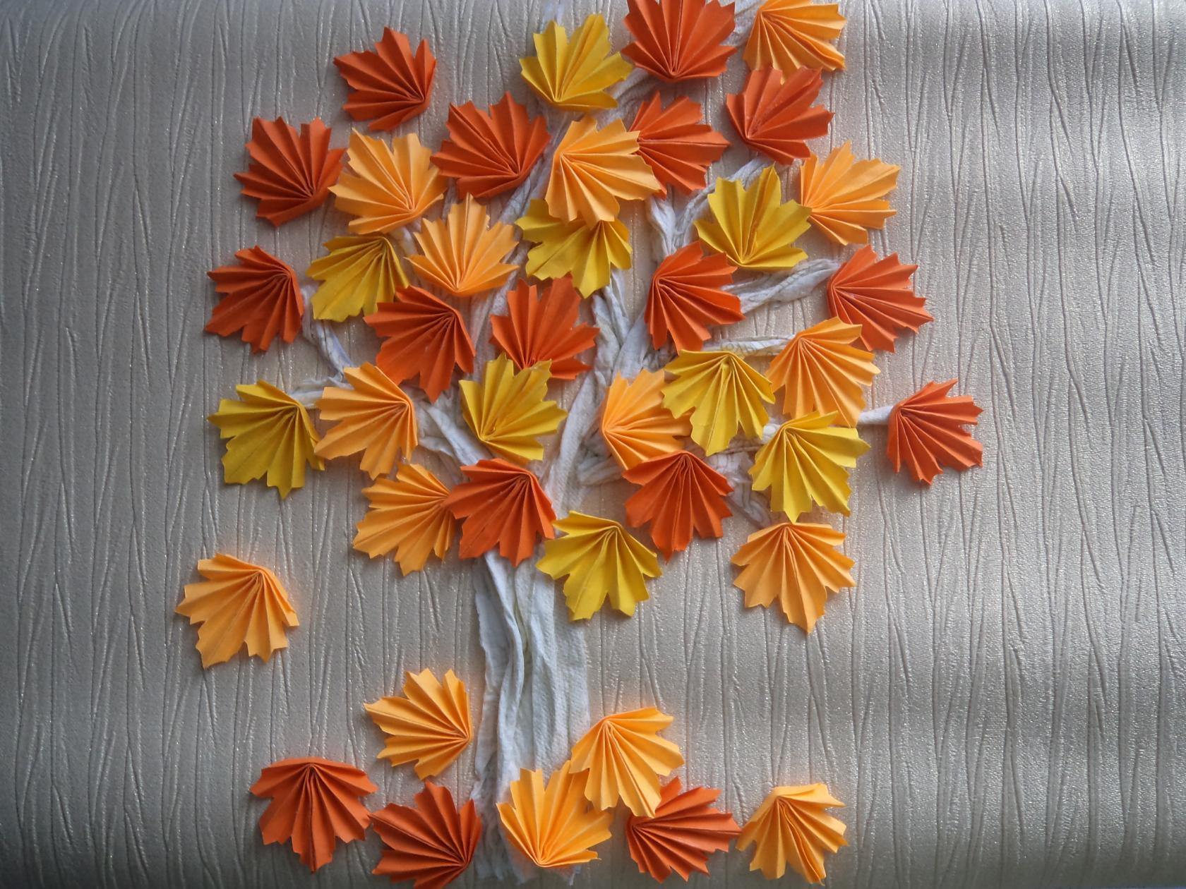 Кленовый лист из бумаги по шаблонам и схемам оригами 39