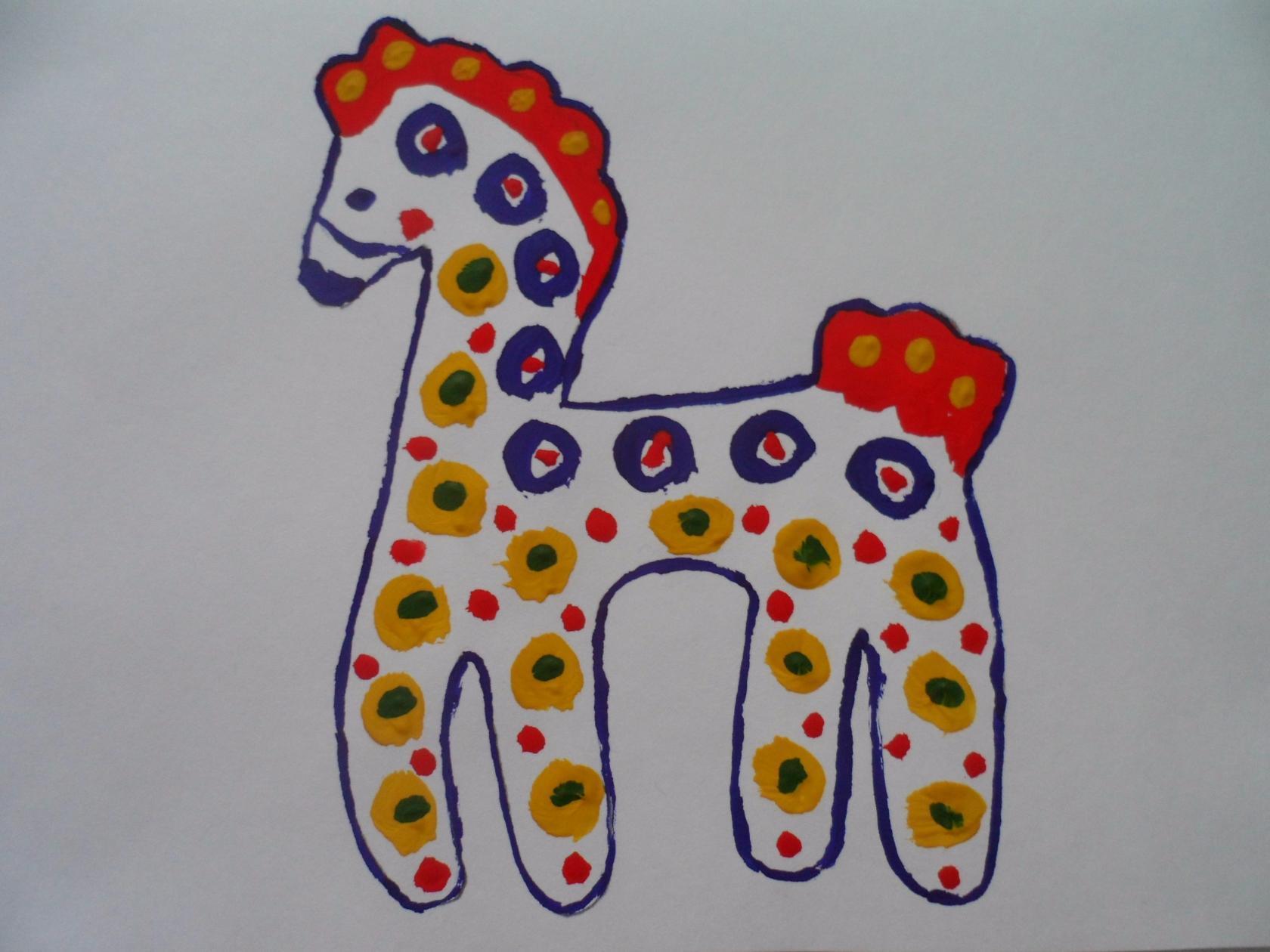можно рисунки дымковских игрушек коня нашли ничего